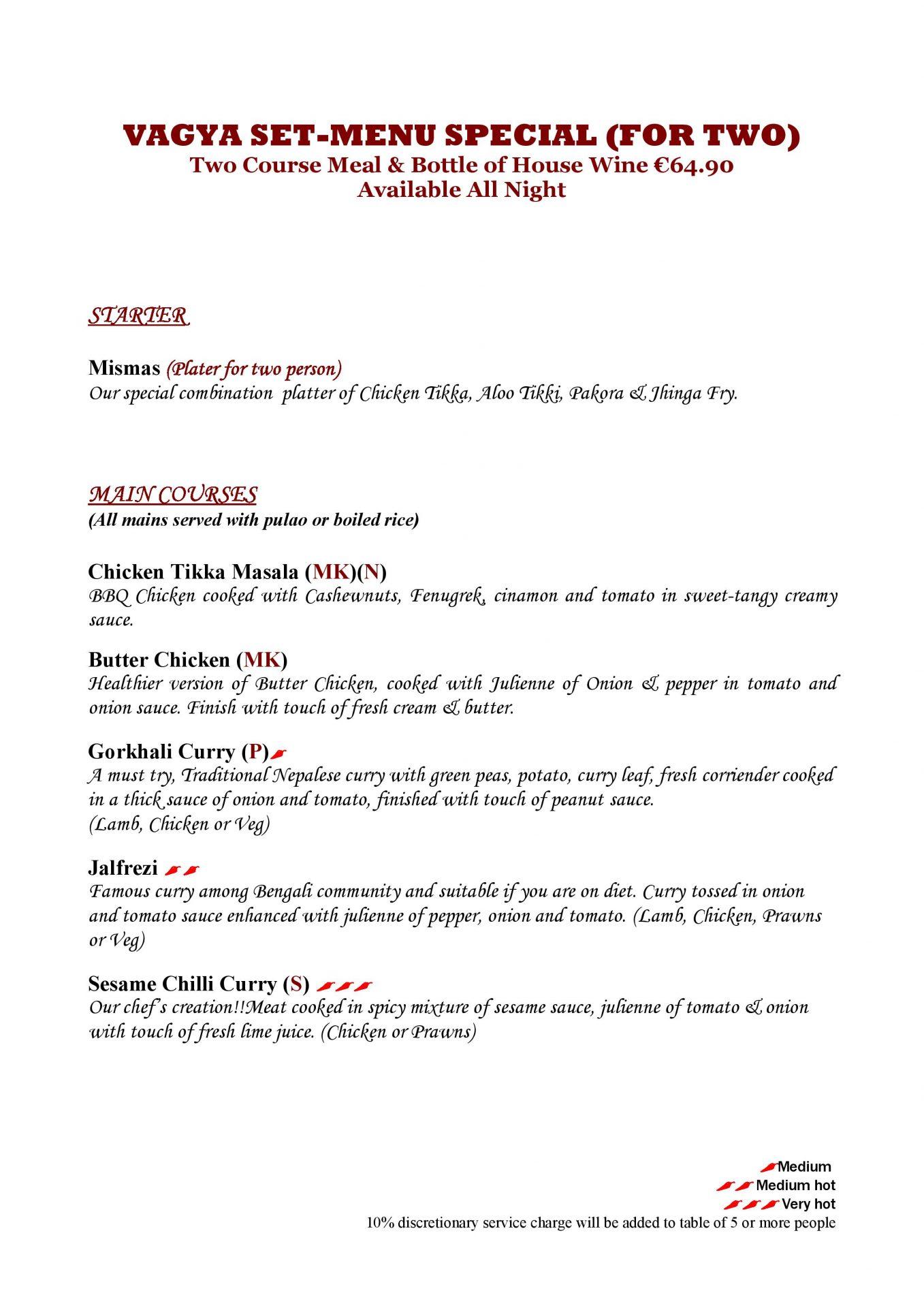 vagya set menu